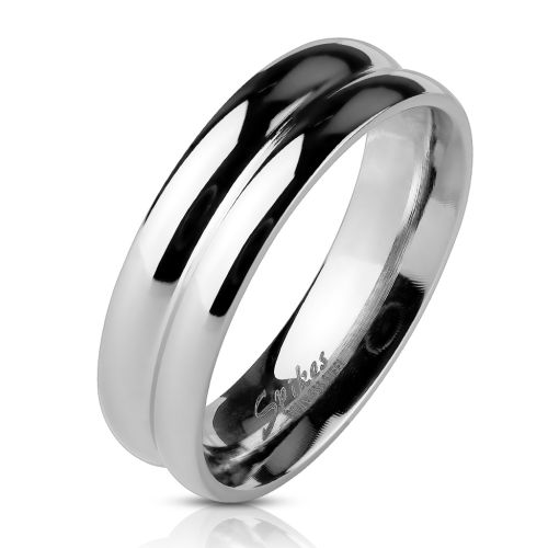 Ring double row silver made of stainless steel unisex