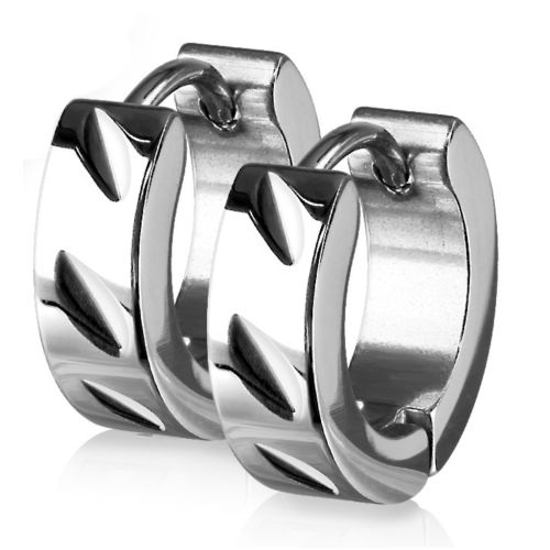 Silver hoop diagonal cut made of stainless steel for women