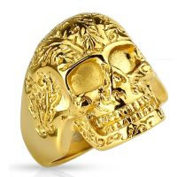 60 (19.1) golden skull ring decorated solid stainless steel men skull 60 62 64 67 70 72 (men finger ring men ring stainless steel ring surgical steel biker outlaw MC Harley SOA)