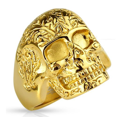 67 (21.3) golden skull ring decorated solid stainless steel men skull 60 62 64 67 70 72 (men finger ring men ring stainless steel ring surgical steel biker outlaw MC Harley SOA)