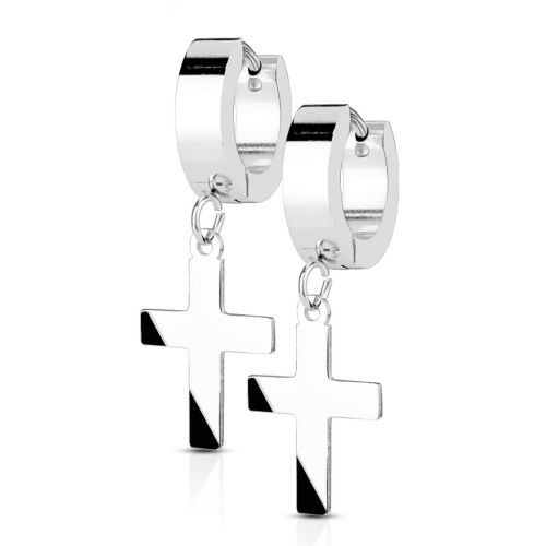 Silver hoop earrings with cross pendant made of stainless steel