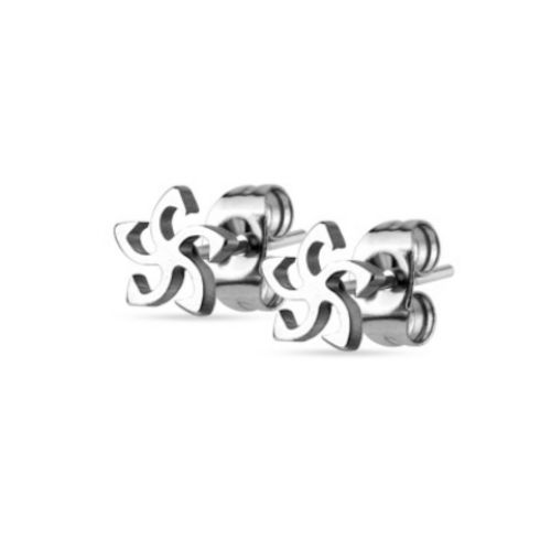 Tribal star silver studs made of stainless steel unisex