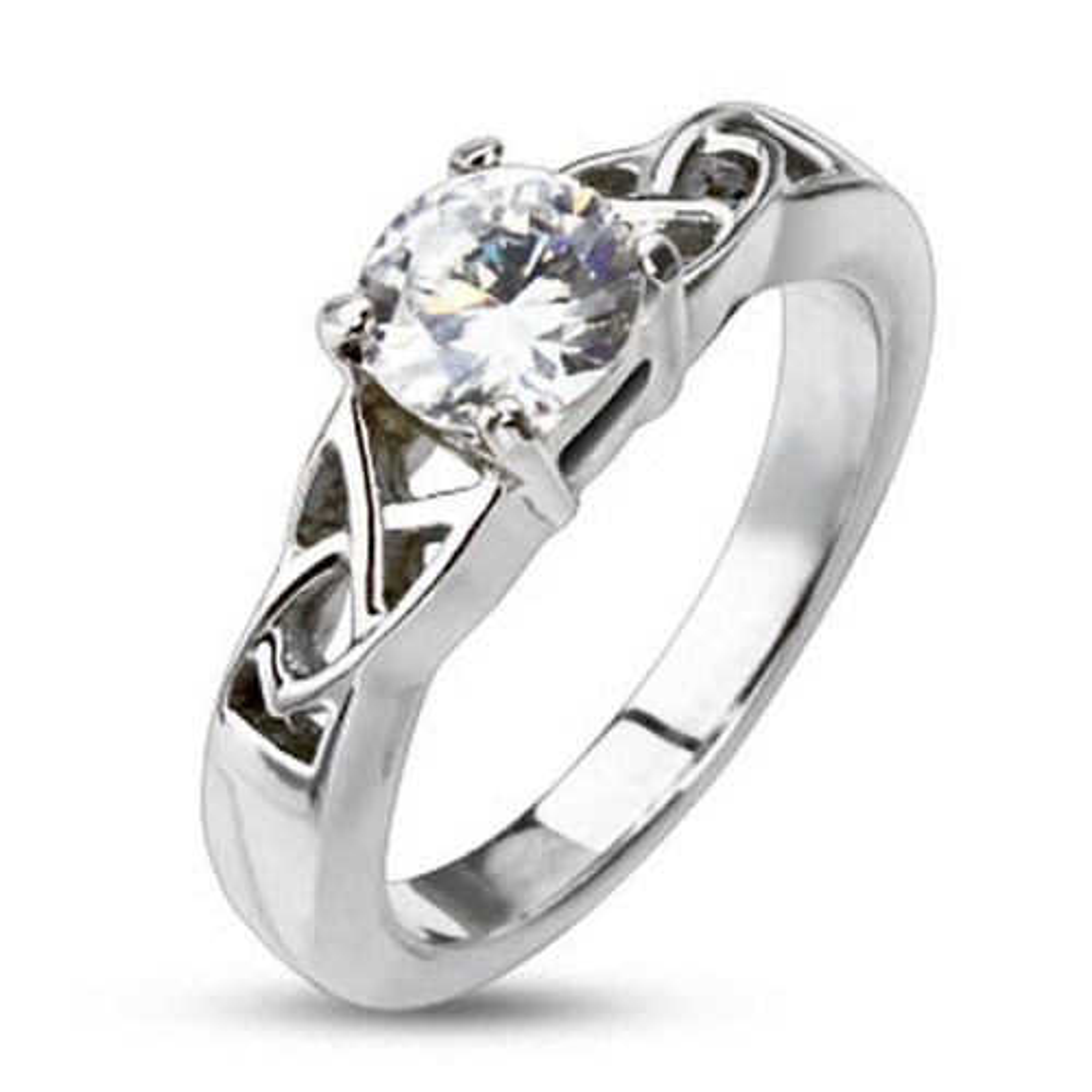 52 (16.6) Ring Keltenknoten mit Kristall Silber aus Edelstahl Damen