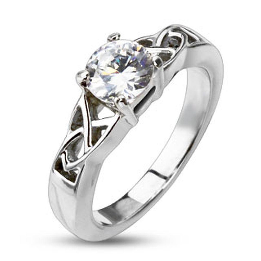 54 (17.2) Ring Keltenknoten mit Kristall Silber aus Edelstahl Damen