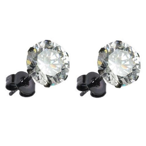 Studs zirconia round black made of stainless steel unisex