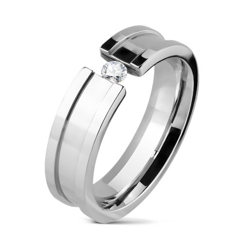 Ring with set crystal silver made of stainless steel women