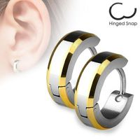 Hoop earrings with gold edged silver made of stainless...