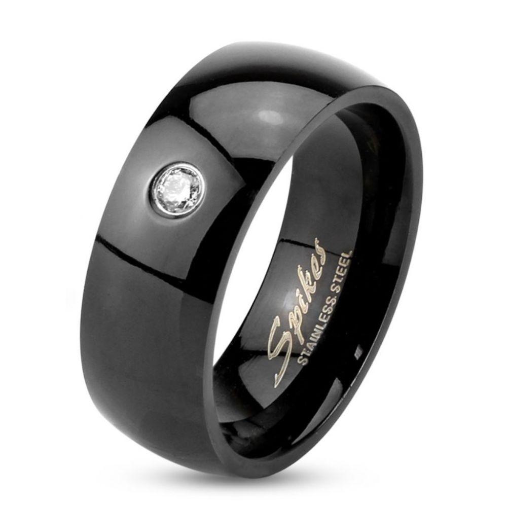 Ring Kristalle klassisch Schwarz aus Edelstahl Unisex