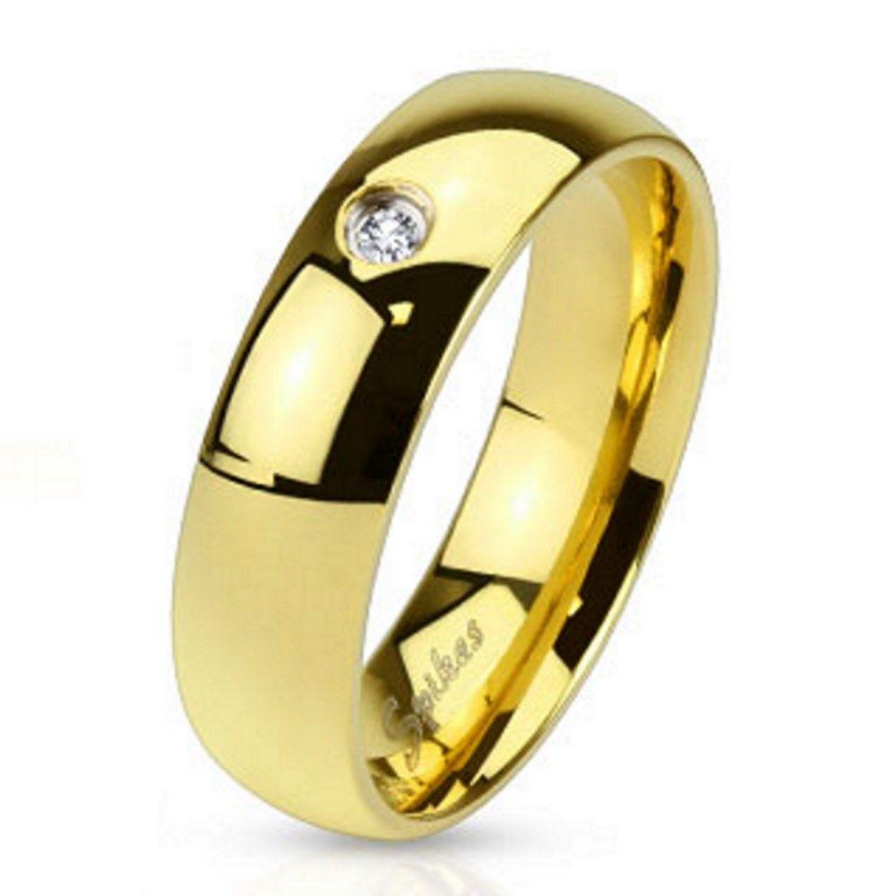 Ring mit Kristall Gold aus Edelstahl Unisex