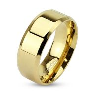 Ring rounded edges gold made of stainless steel unisex