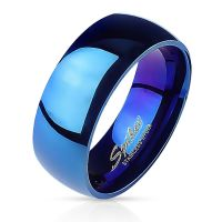 Classic blue ring made of stainless steel unisex