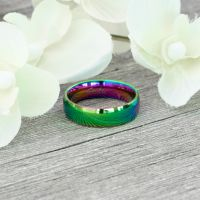 Rainbow multicolored ring made of stainless steel unisex