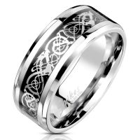 Ring Tribal decorated silver made of stainless steel unisex