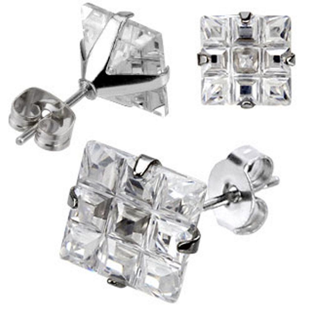 Ohrstecker Zirkonia Multikristall silber aus Edelstahl für Damen