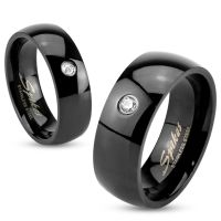 62 (19.7) Black crystal ring stainless steel classic...