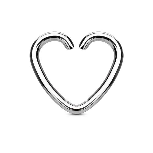 Ear clip heart silver made of stainless steel for women