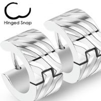 Silver hoop zebra stripes made of stainless steel