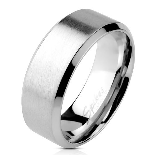 Ring with angled edge silver made of stainless steel unisex