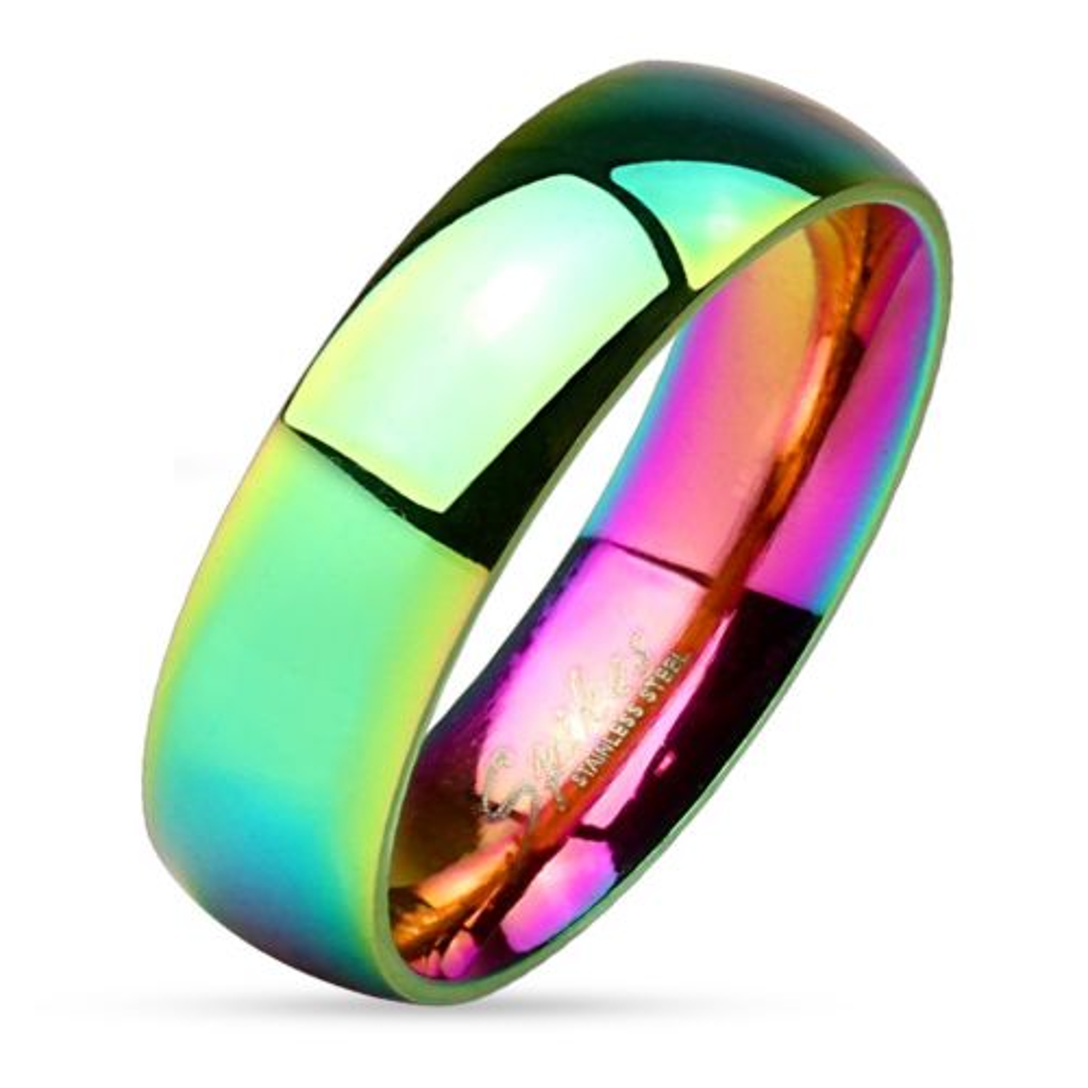 52 (16.6) Ring Regenbogen Bunt aus Edelstahl Unisex
