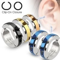 Hoop earrings with center ring silver made of stainless...