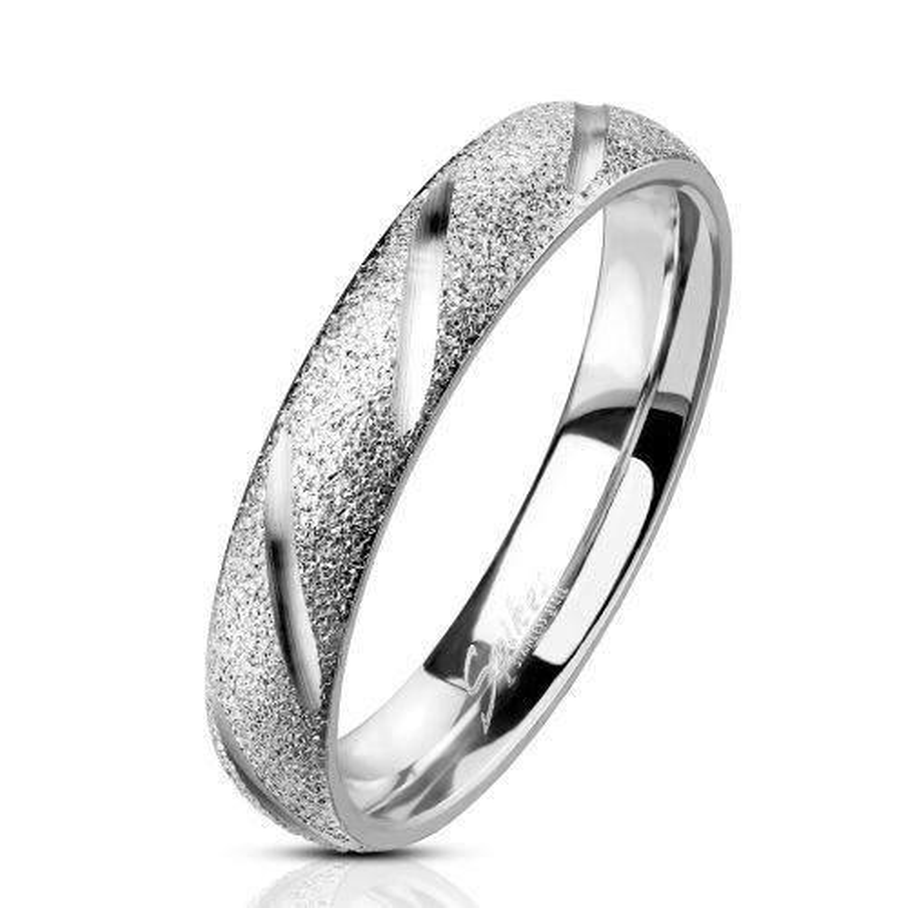 60 (19.1) Ring sand-gestrahlt Diamant Cut Silber aus Edelstahl Unisex