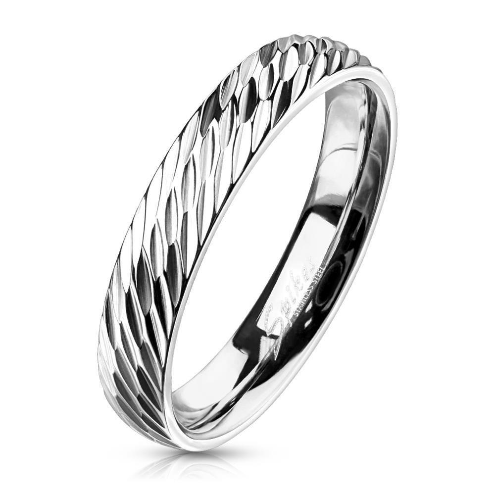 60 (19.1) Ring diagonaler Diamant Cut Silber aus Edelstahl Unisex