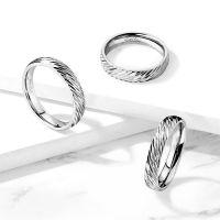 64 (20.4) Ring diagonaler Diamant Cut Silber aus Edelstahl Unisex