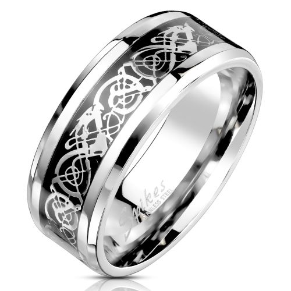 70 (22.3) Ring keltisches Tribal Silber aus Edelstahl Unisex