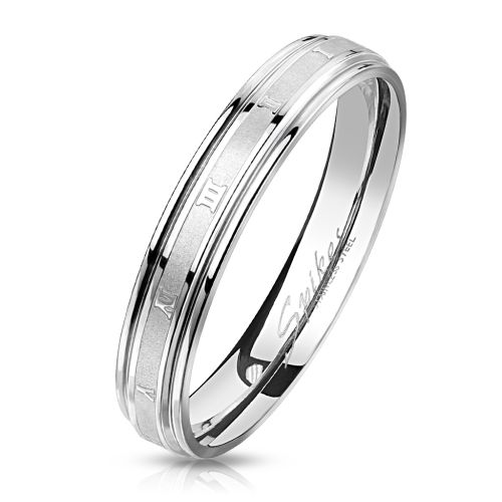 60 (19.1) Ring römische Nummern Silber aus Edelstahl Unisex