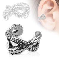 Ear clip snake silver made of brass unisex