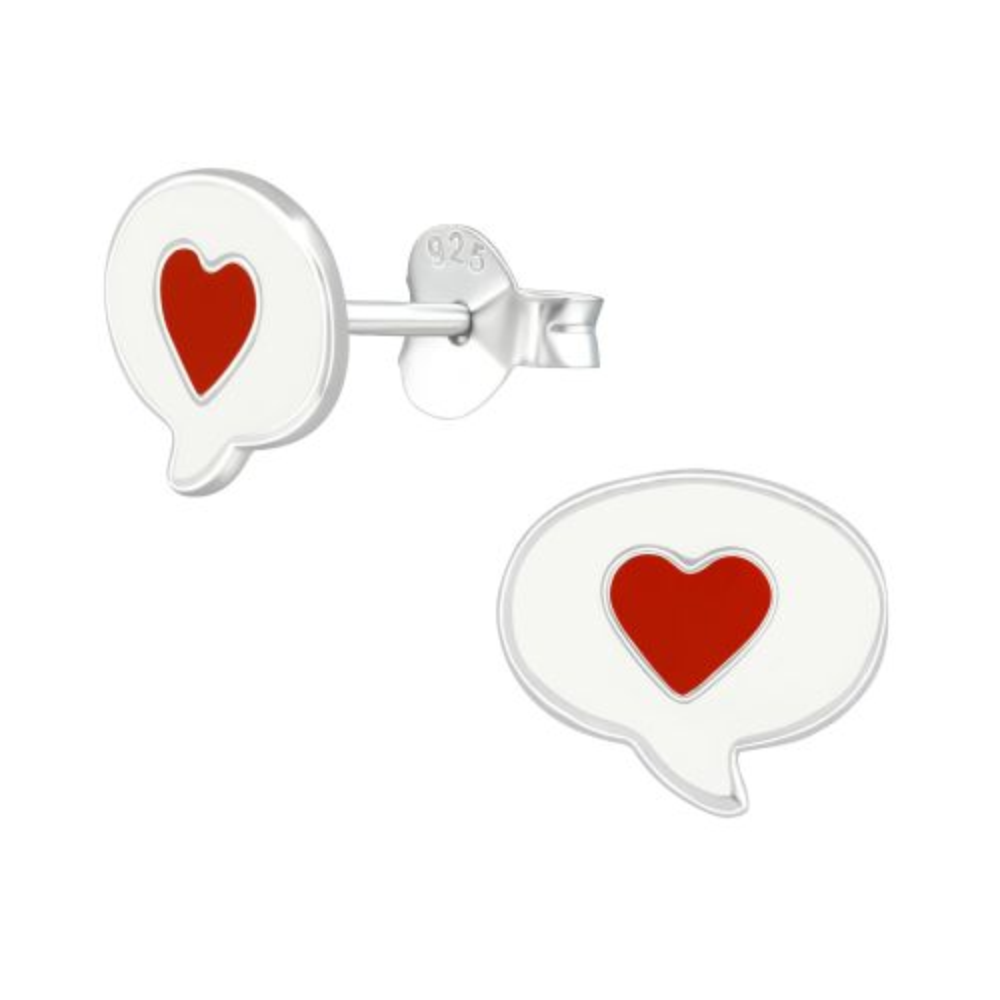 Ohrstecker Sprechblase mit Herz aus .925 Silber für Kinder