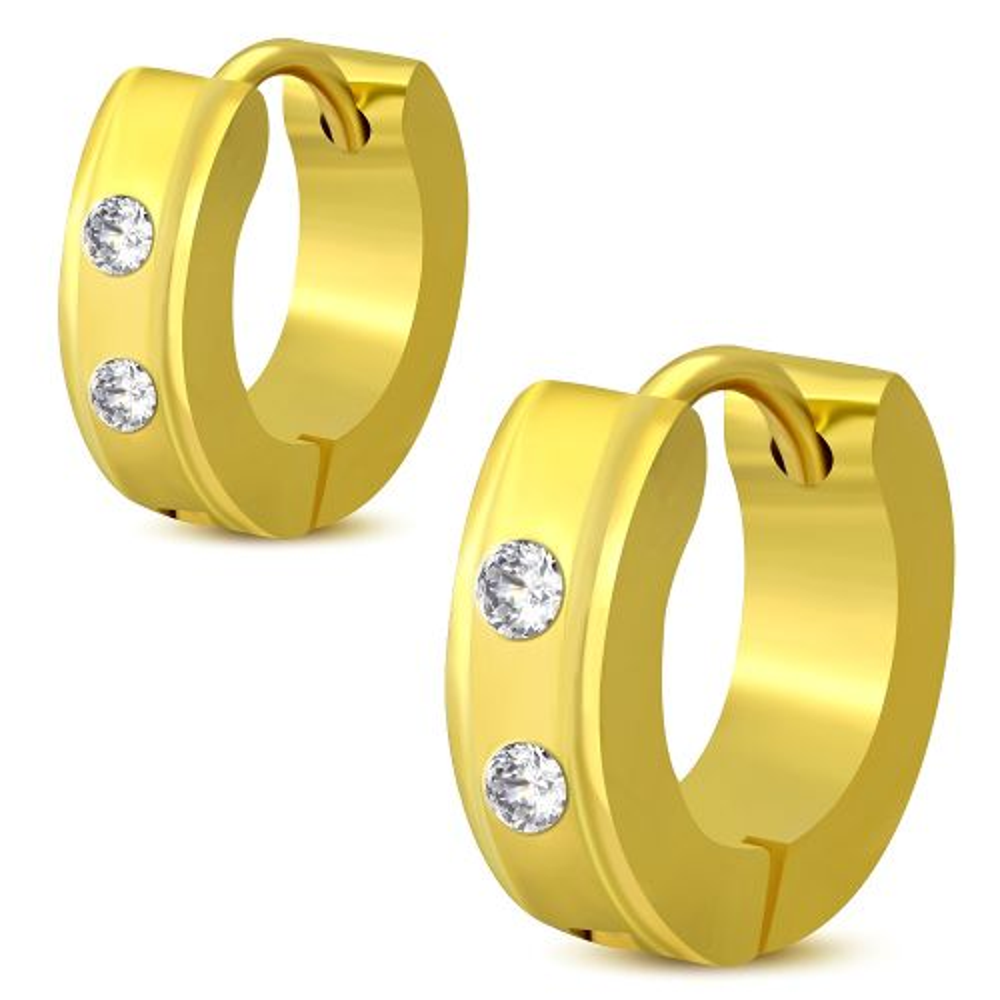 Creolen mit klaren Kristallen & abgesetzten Rändern gold aus Edelstahl für Damen