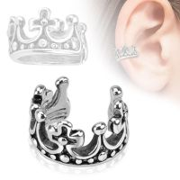 Ear clip royal crown silver made of brass unisex