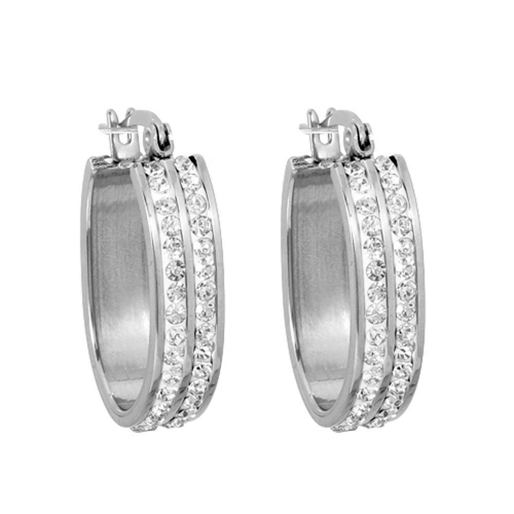 Kristall-Creolen oval silber aus Edelstahl für Damen
