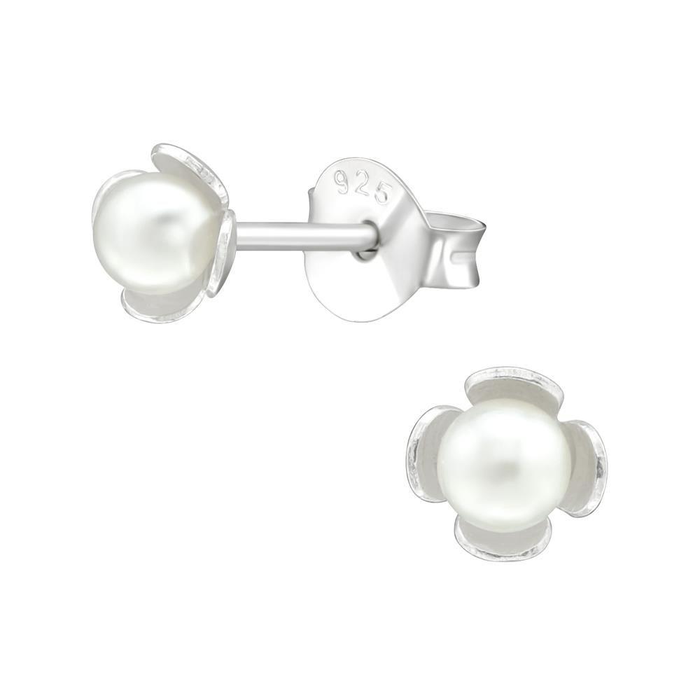 Ohrstecker kleine Blüte mit Perle aus .925 Silber Damen