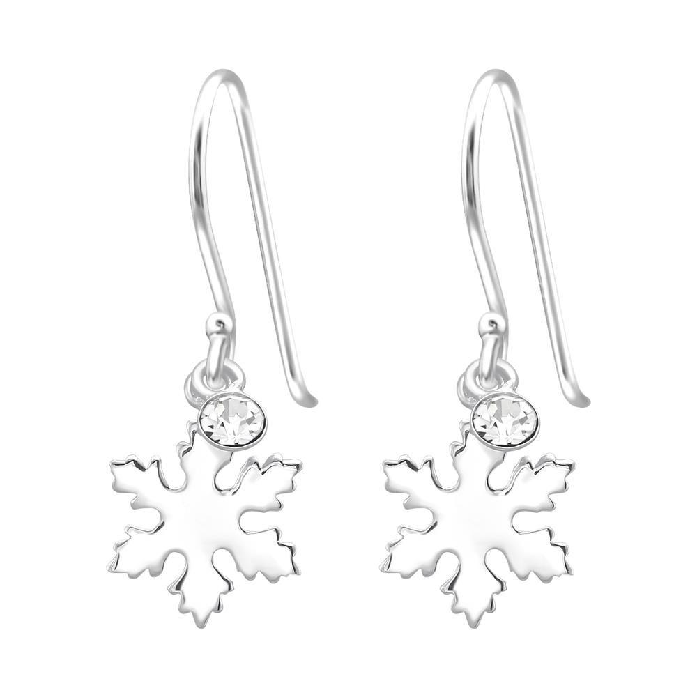 Ohrhänger Schneeflocke mit Kristall aus .925 Silber Damen