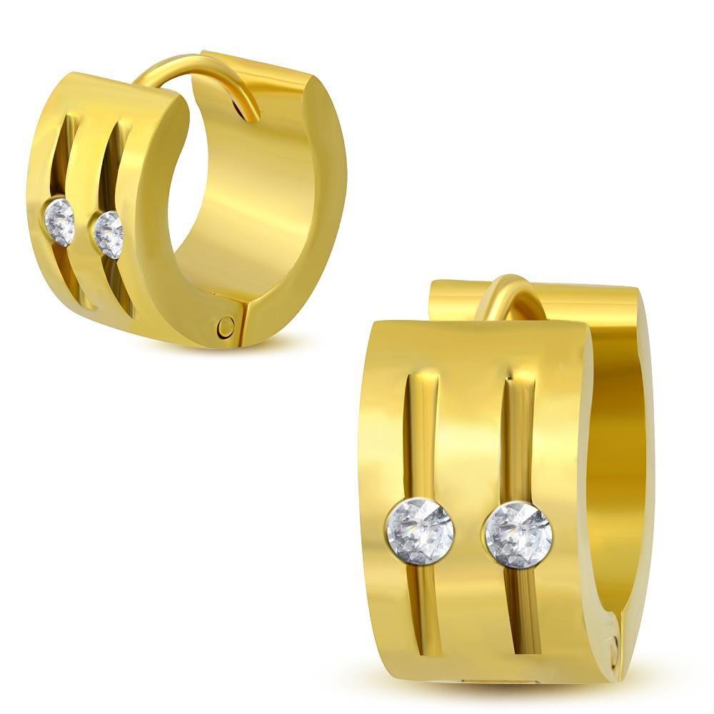 Creolen mit Cut-Outs und klaren Kristallen gold aus Edelstahl für Damen