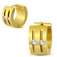 Creolen mit Cut-Outs und klaren Kristallen gold aus...