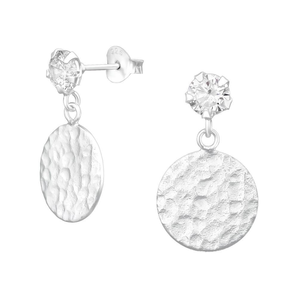 Ohrstecker mit Kristall und gehämmerten Plättchen aus .925 Silber Damen