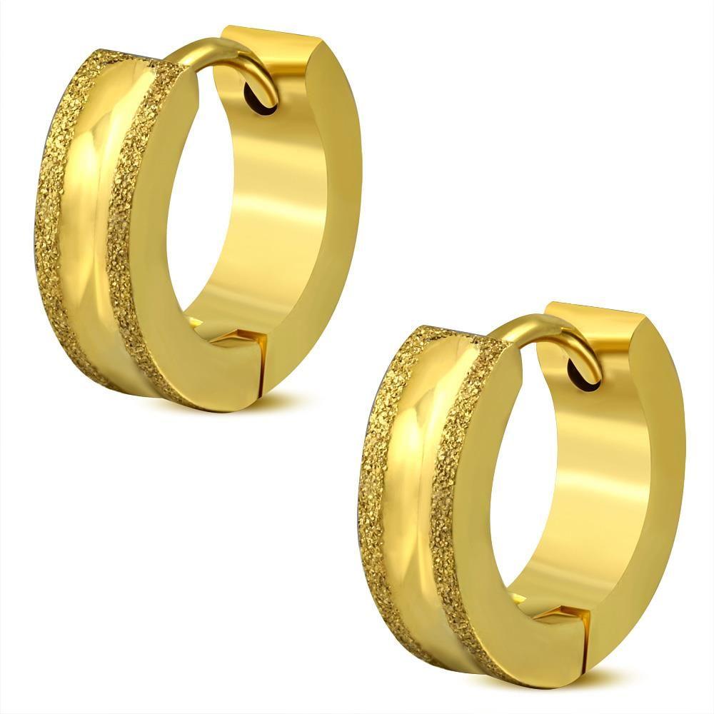 Creolen mit sand-gestrahlten Kanten Gold aus Edelstahl Damen