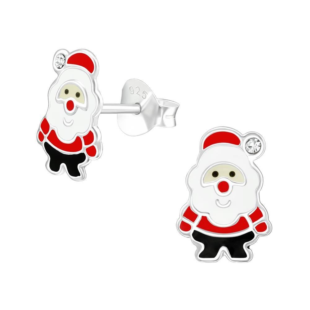 Ohrstecker Weihnachtsmann aus 925 Sterling-Silber für Kinder