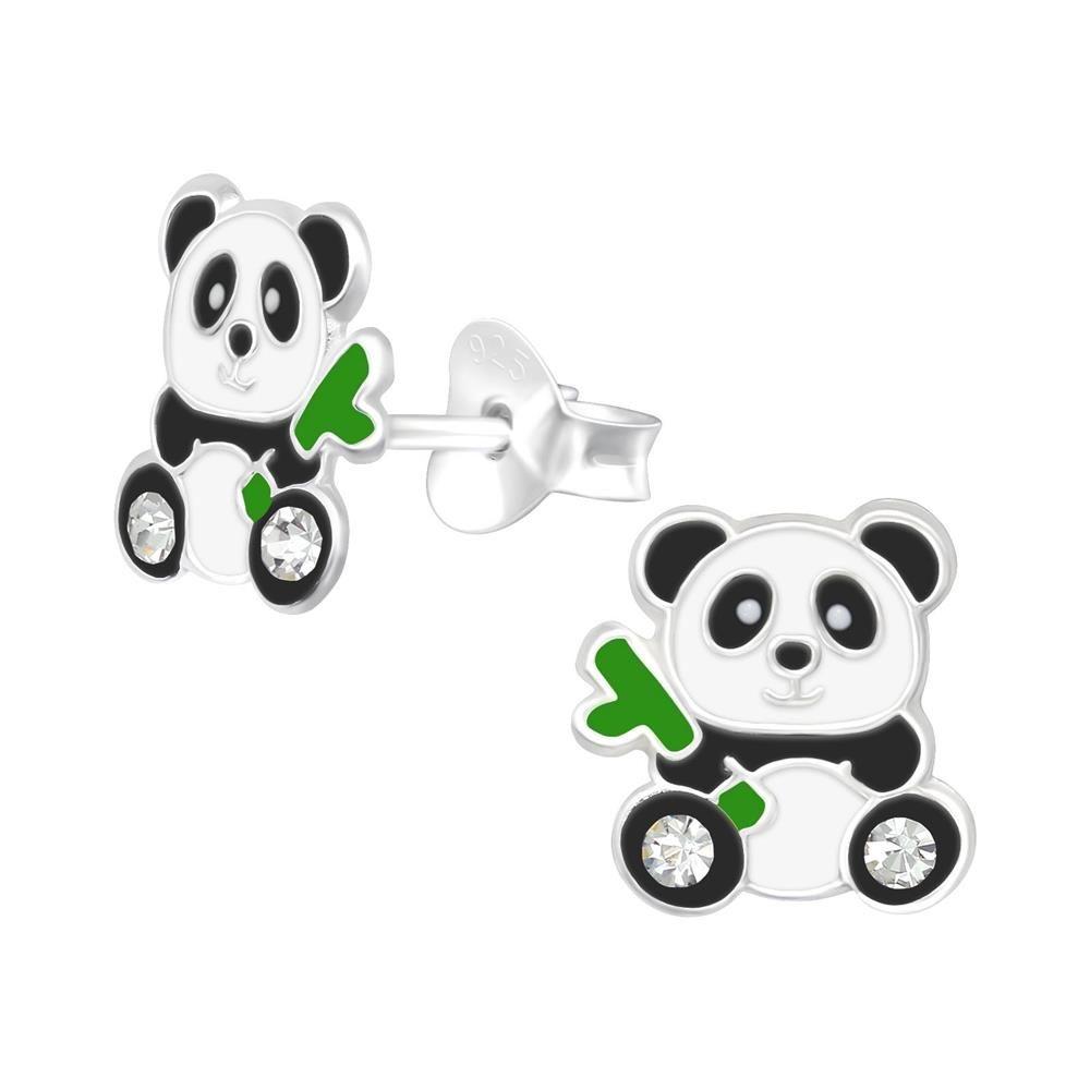 Ohrstecker Panda-Bär Silber aus 925 Silber Damen