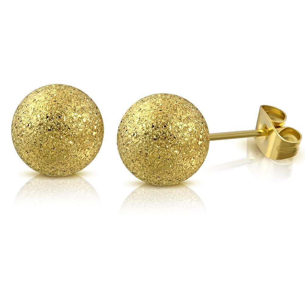Ohrstecker Kugel sand-gestrahlt Gold aus Edelstahl Unisex