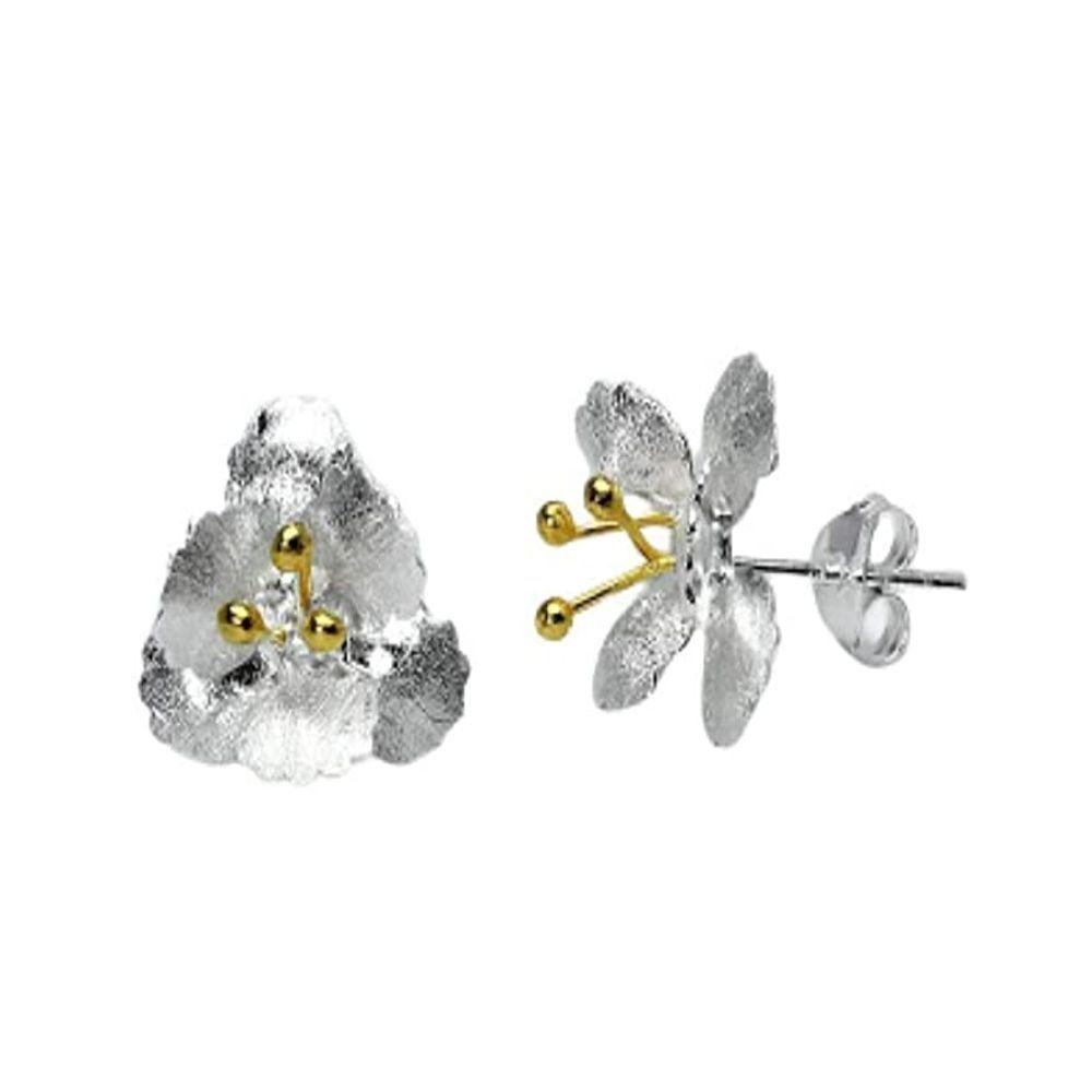 Ohrstecker Blüte zweifarbig aus 925 Silber Damen