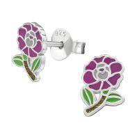 Ohrstecker lila Blume aus .925 Silber Damen