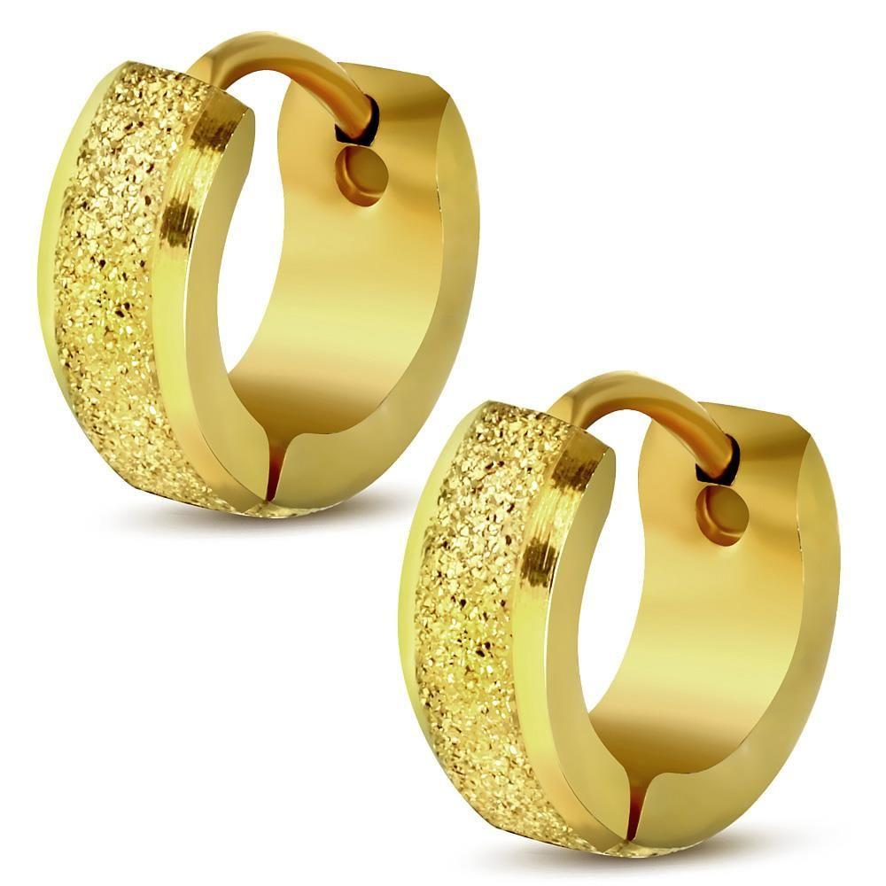 Creolen sand-gestrahlt mit abgerundeten Kanten Gold aus Edelstahl Unisex