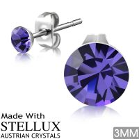 Stud earrings purple crystal silver made of stainless...