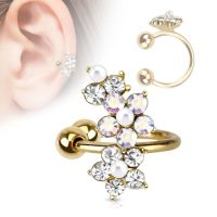 Ear clip crystal flower gold made of brass for women