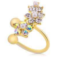 Ohrklemme Kristall-Blume gold aus Messing für Damen