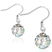Earrings disco ball rainbow silver made of stainless...